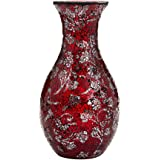 """12"""" or 16"""" Small Large Flower Vase Decorative Glittery Sparkled Mosaic gift present H28 (Large, Red Silver Rose)"""