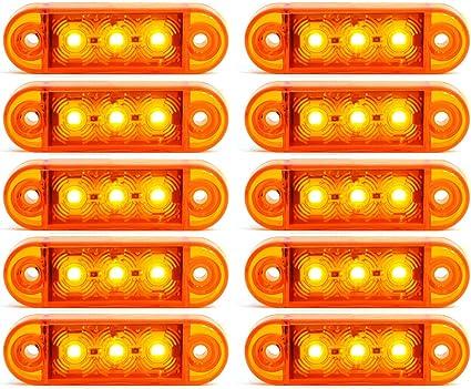 10x 3 Led Begrenzunsleuchten Positionleuchten Seitenleuchten 12v 24v Volt Für Lkw Bus Trailer Indikator Licht Seitenmarkierungsleuchte In 3 Farben Rot Gelb Weiss Gelb Auto