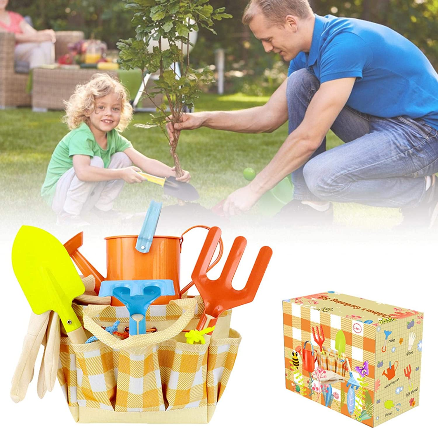 Garden Tool Set for Kids with Watering Can Rake and Gardening Tote,Gardening Tools for Kids Outdoor Toys Gift Shovel Kids Gardening Tools Shovel MTAPH Kids Gardening Tool Set Gardening Gloves