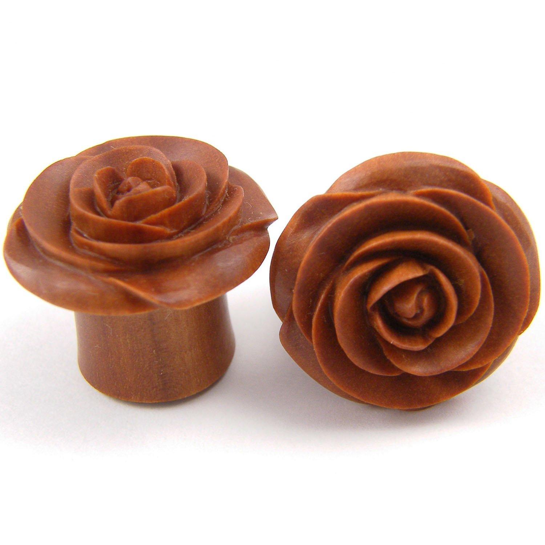 3//4 Crocodile Wood Rose Flower Ear Gauge Plugs