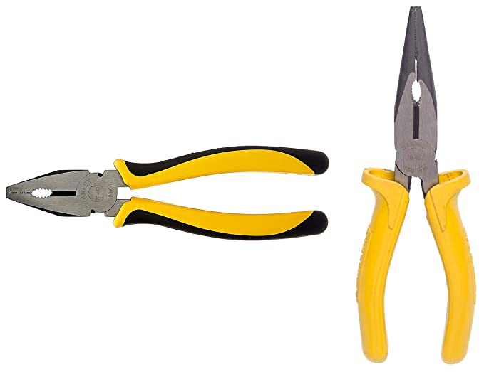 Stanley 70-482 Sturdy Steel Combination 8-Inch Pliers & Stanley 70-462 Long Nose Plier with 6 inch Single Color Sleeve