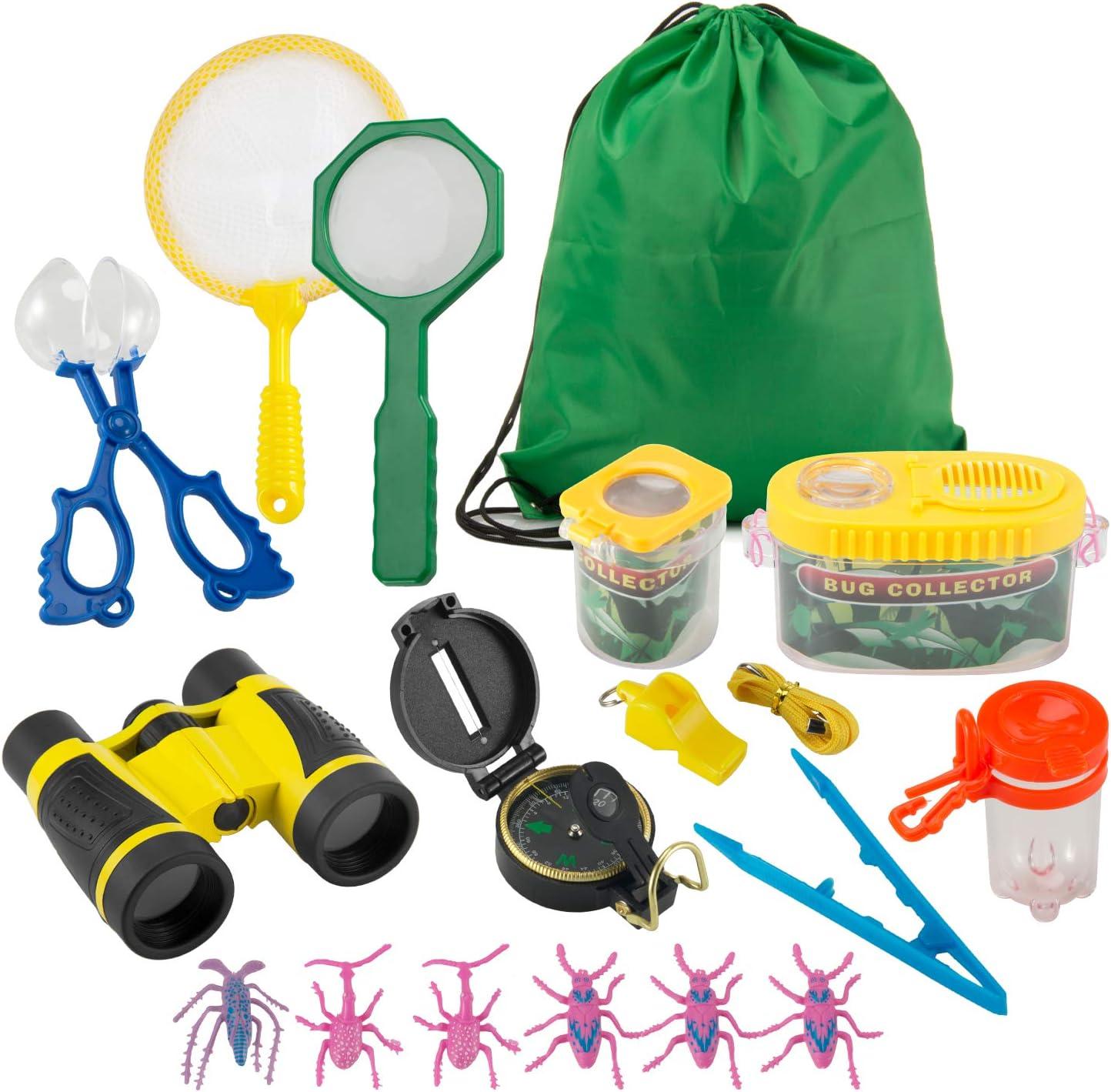 FORMIZON Kit de Exploración para Niños 17 Piezas, Outdoor Explorer Kit Regalos Juguetes, Binoculares, Silbato, Brújula, Lupa, Clip de Insectos, para Niños para Acampada y Senderismo