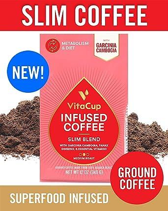 VitaCup Slim Blend Ground Coffee Bags 12oz | Diet & Metabolism | Garcinia & Ginseng | Keto & Paleo Friendly | Vegan | B Vitamins | for Drip Coffee ...