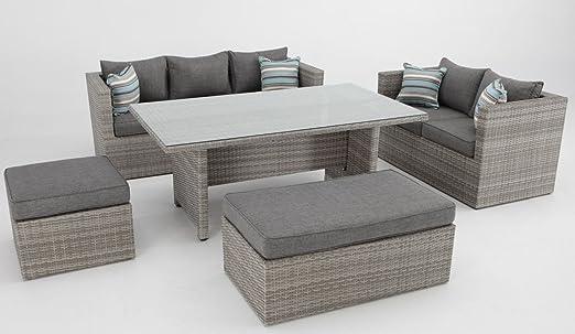 Conjunto sofas de terraza con mesa de comedor rattan color natural Carmel: Amazon.es: Jardín