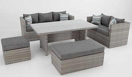 Conjunto sofas de terraza con mesa de comedor rattan color ...