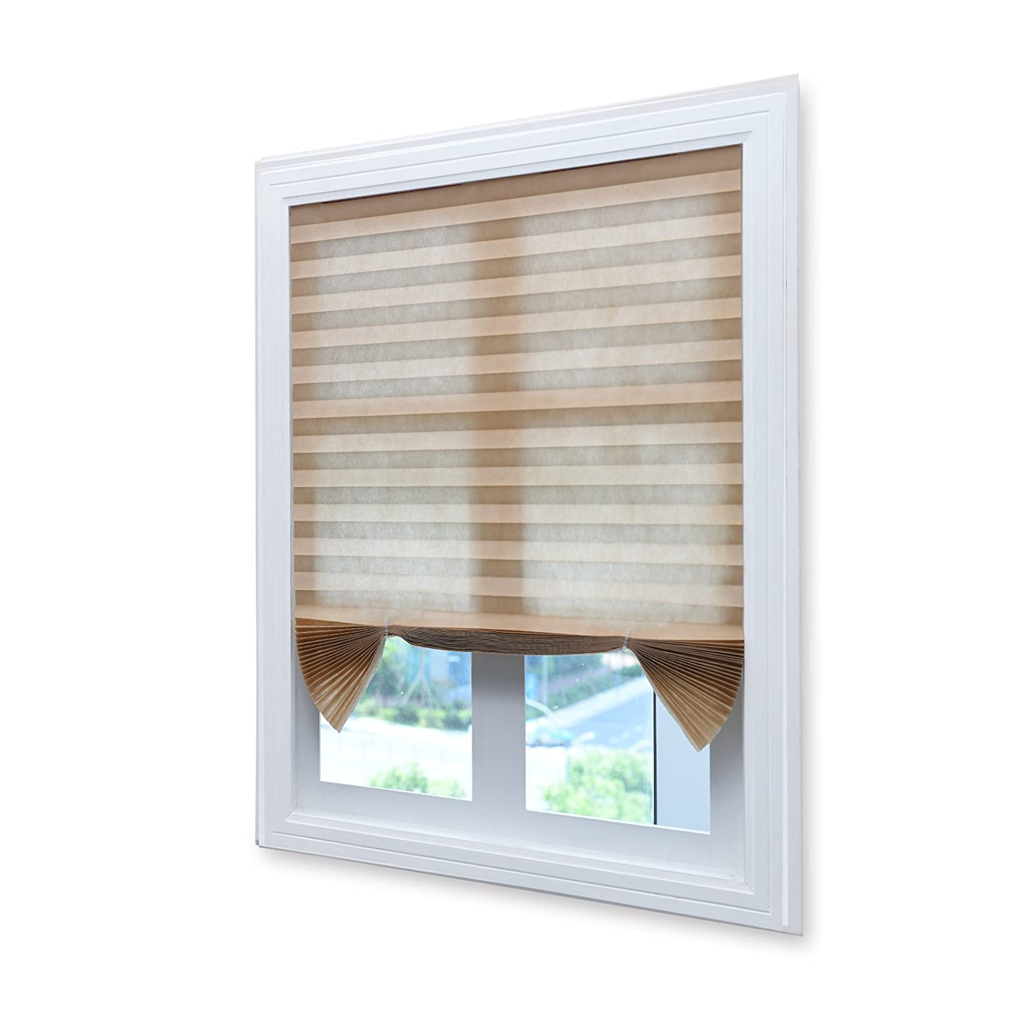 Acholo Easy to Install Pleated Fabric Shades Blinds Room Darkening Window Shades Blinds White 36x 72 6-Pack
