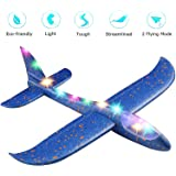 "ANG® Toy Set of 1 - 17.5"" Large Throwing Foam Plane with Led Flashing Light, Dual Flight Mode, Aeroplane Gliders, Flying Aircraft, Gifts for Kids, for 3 to 8 Year Children's (Random Colour Dispatch)"