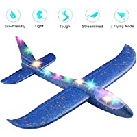 """ANG® Toy Set of 1 - 17.5"""" Large Throwing Foam Plane with Led Flashing Light, Dual Flight Mode, Aeroplane Gliders, Flying Aircraft, Gifts for Kids, for 3 to 8 Year Children's (Random Colour Dispatch)"""