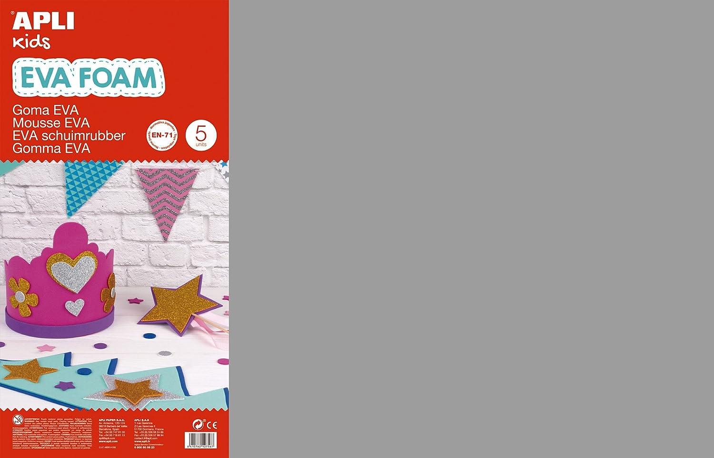 APLI Kids - Bolsa goma EVA gris, 400x600x2mm 5 hojas: Amazon.es: Oficina y papelería