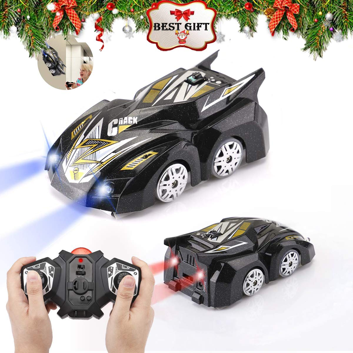 Morpilot Remote Control Car Toy, Rechargeable Wall Climbing Climber Car with New Remote Control, Dual Mode 360° Rotating Stunt Car Racing Vehicle, LED Head Gravity-Defying, Gift for Kids Boy Girl Birthday