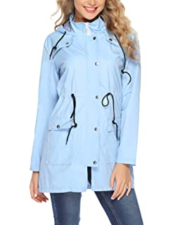 ACEVOG Women Raincoat Packable and Lightweight for Travel Outdoor Hooded Waterproof Mountain Jacket