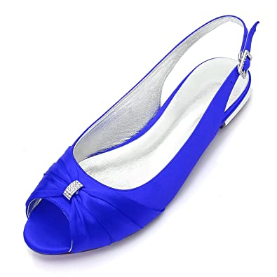 f776649b51ba MarHermoso Womens Peep Toe Satin Ballet Pleated Bow Knot Royal Blue Flat  Shoes