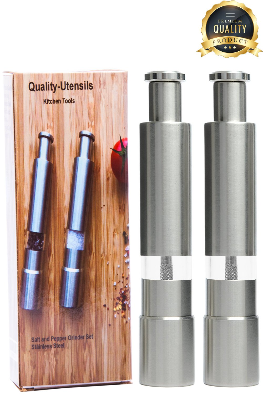 Details About Salt And Pepper Grinder Set Modern Stainless Steel Pump And Grind For