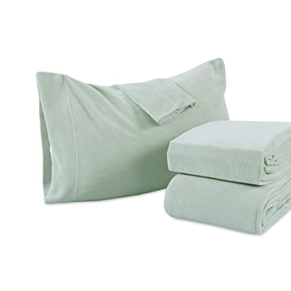 Berkshire Blanket Heavyweight Polarfleece Fleece Sheets, Full, Silver Sage best full-size fleece sheets