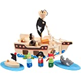 Blue Panda Pirate Toys and Kids Pirate Ship Playset - Wooden Pirate Figurines with Fun, Ocean-Themed Accessories, 11 Piece Set for Children Ages 3 and Up, Great for a Christmas, Secret Santa Gift