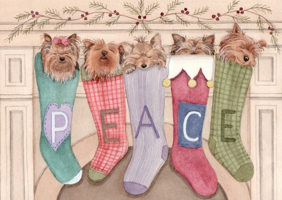 Yorkie Yorkshire Terrier Christmas Cards & Ornaments