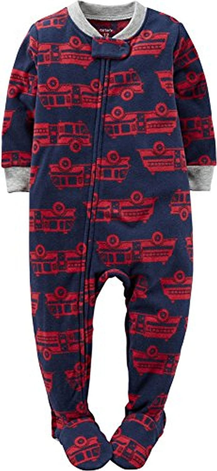 Carter's Boy's Navy Fire Truck Print Fleece Footed Pajama Sleeper
