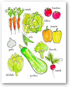 Ramini Brands Vegetables Wall Artwork - Kitchen or Grocery Store Decor - 11 x 14 Unframed Print - Great Gift for Grocers, Produce Managers, Vegans and Veggie Lovers