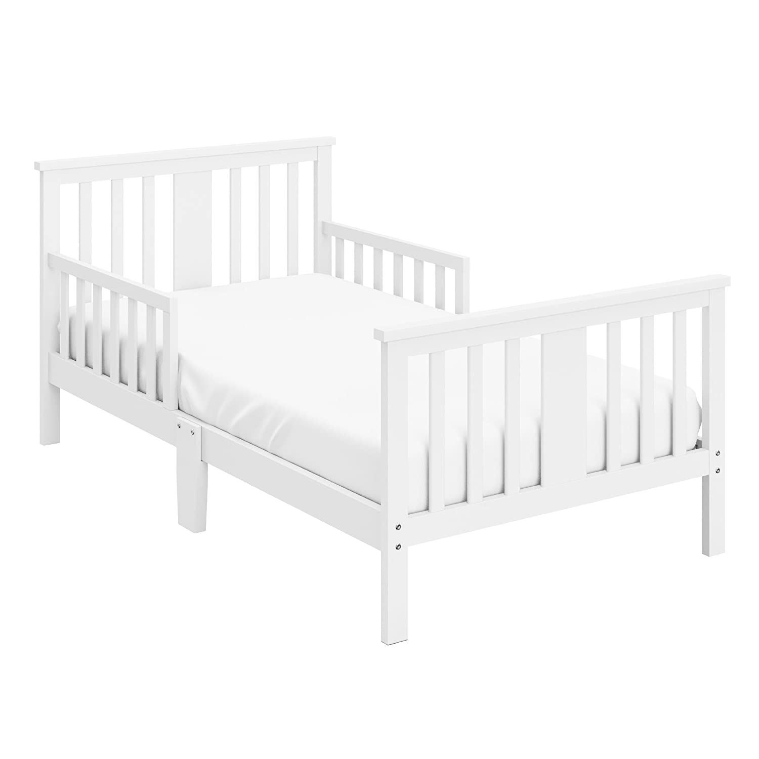 Storkcraft Mission Ridge Toddler Bed White Fits Standard-Size Toddler Mattress, Guardrails on Both Sides for Protection, Meets or Exceeds all Federal Safety Standards, Pine & Composite Construction 05250-101