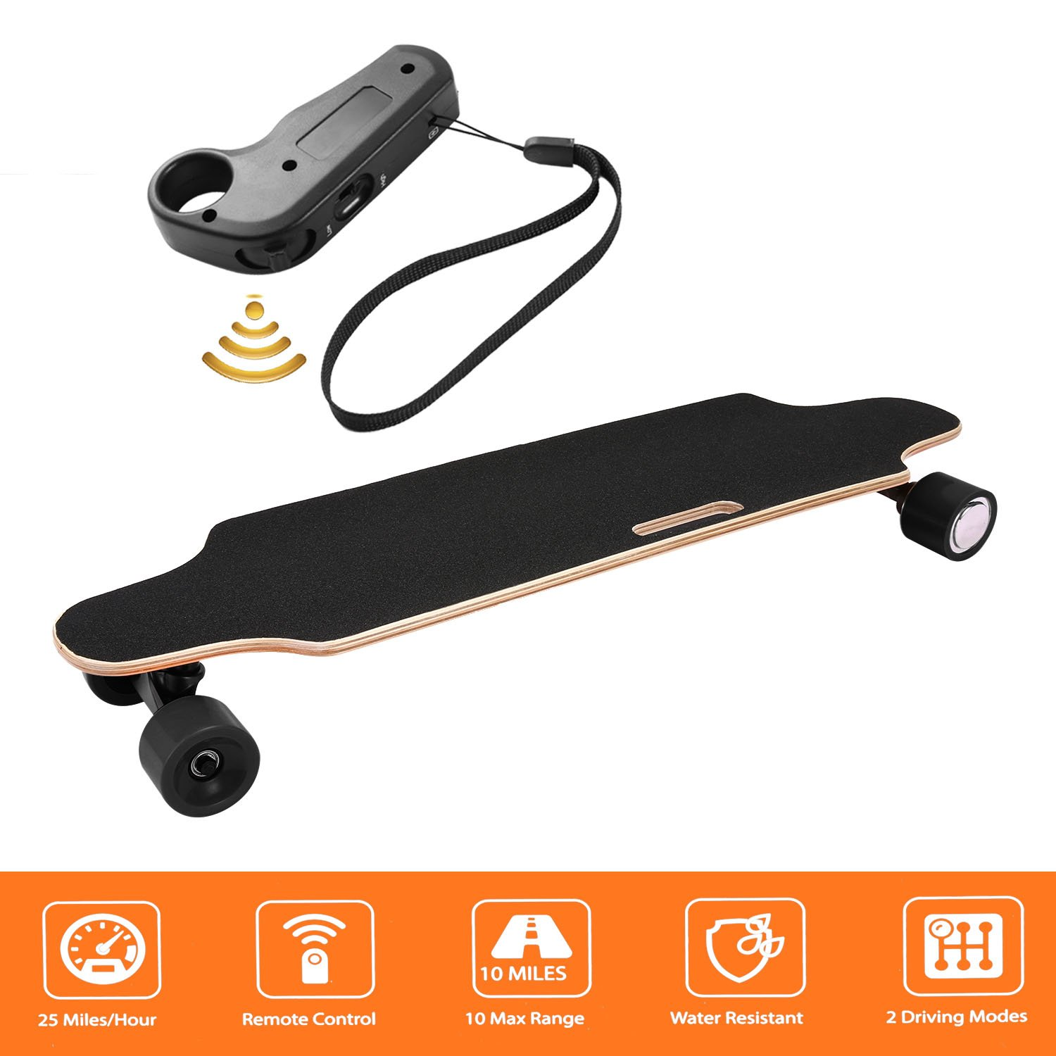 shaofu Electric Skateboard Youth Electric Longboard with Wireless Remote Control, 250W Motor, 20 MPH Top Speed, 10 Miles Range (US Stock) (Black)