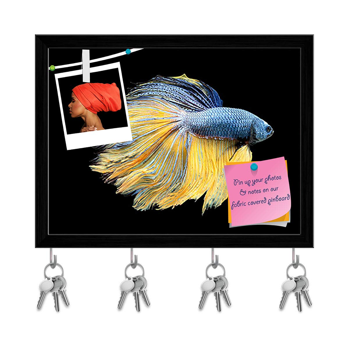 Amazon.com: ArtzFolio Betta Fish 2 Key Holder Hooks Cum Bulletin Notice Pin  Board Cum Black Framed Painting 7.8 x 6inch: Office Products