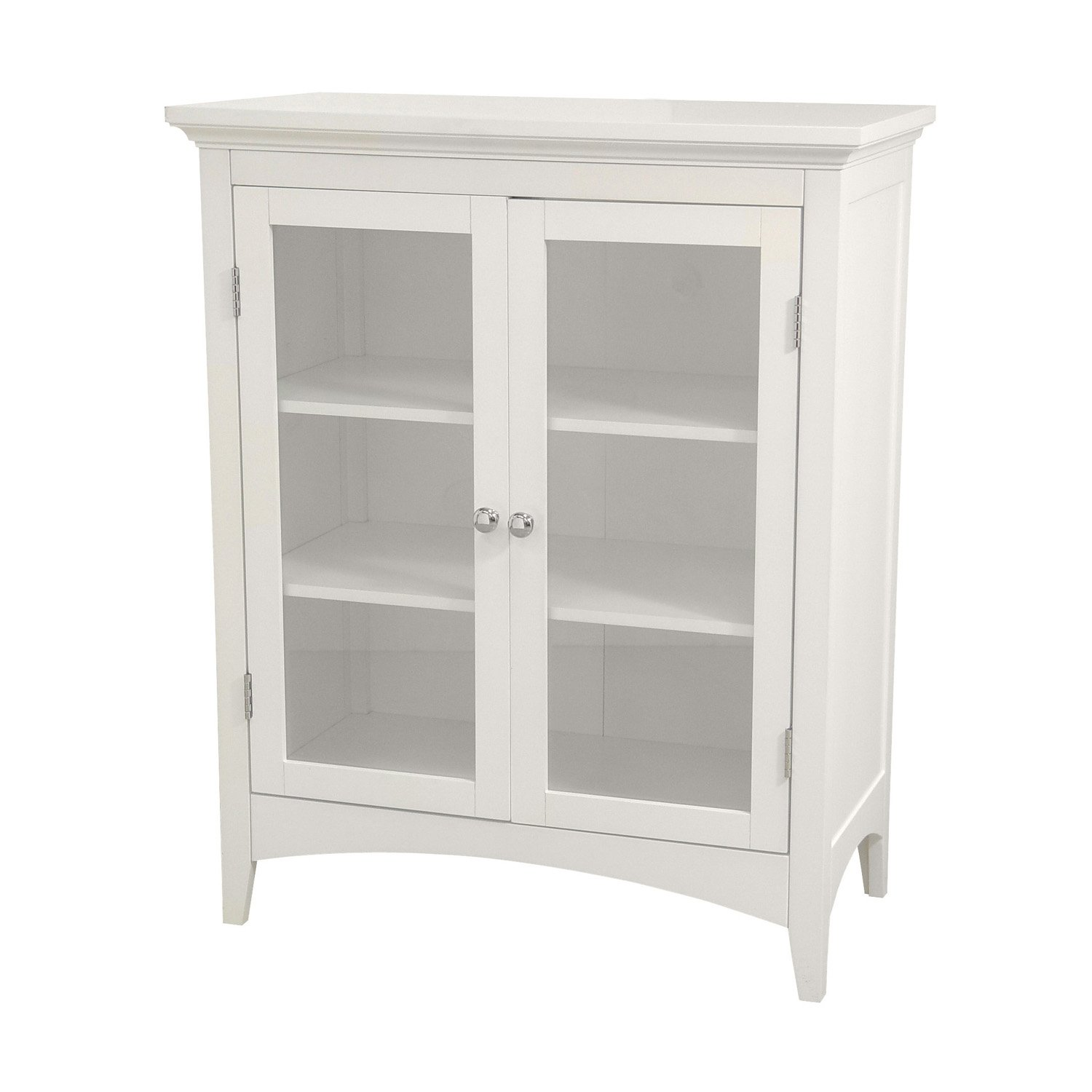 Amazon.com: Elegant Home Fashions Madison Collection Shelved Double Door  Floor Cabinet, White: Kitchen U0026 Dining