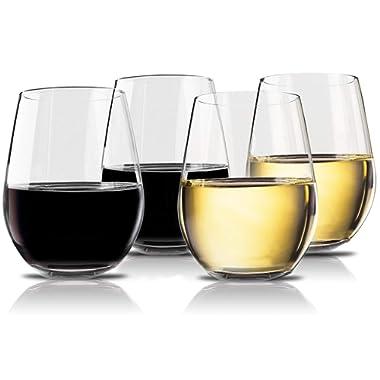 Vivocci Unbreakable Elegant Plastic Stemless Wine Glasses 20 oz   100% Tritan Heavy Base   Shatterproof Glassware   Ideal For Cocktails & Scotch   Perfect For Homes & Bars   Dishwasher Safe   Set of 4