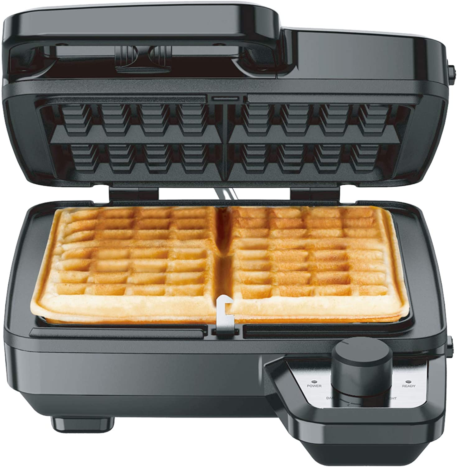 Elechomes Waffle Maker with Removable Plates, 4-Slice Belgian Waffle Iron, Anti-Overflow Nonstick Grids, Browning Control, Indicator Light, Compact Design, Recipes Included, Stainless Steel: Kitchen & Dining
