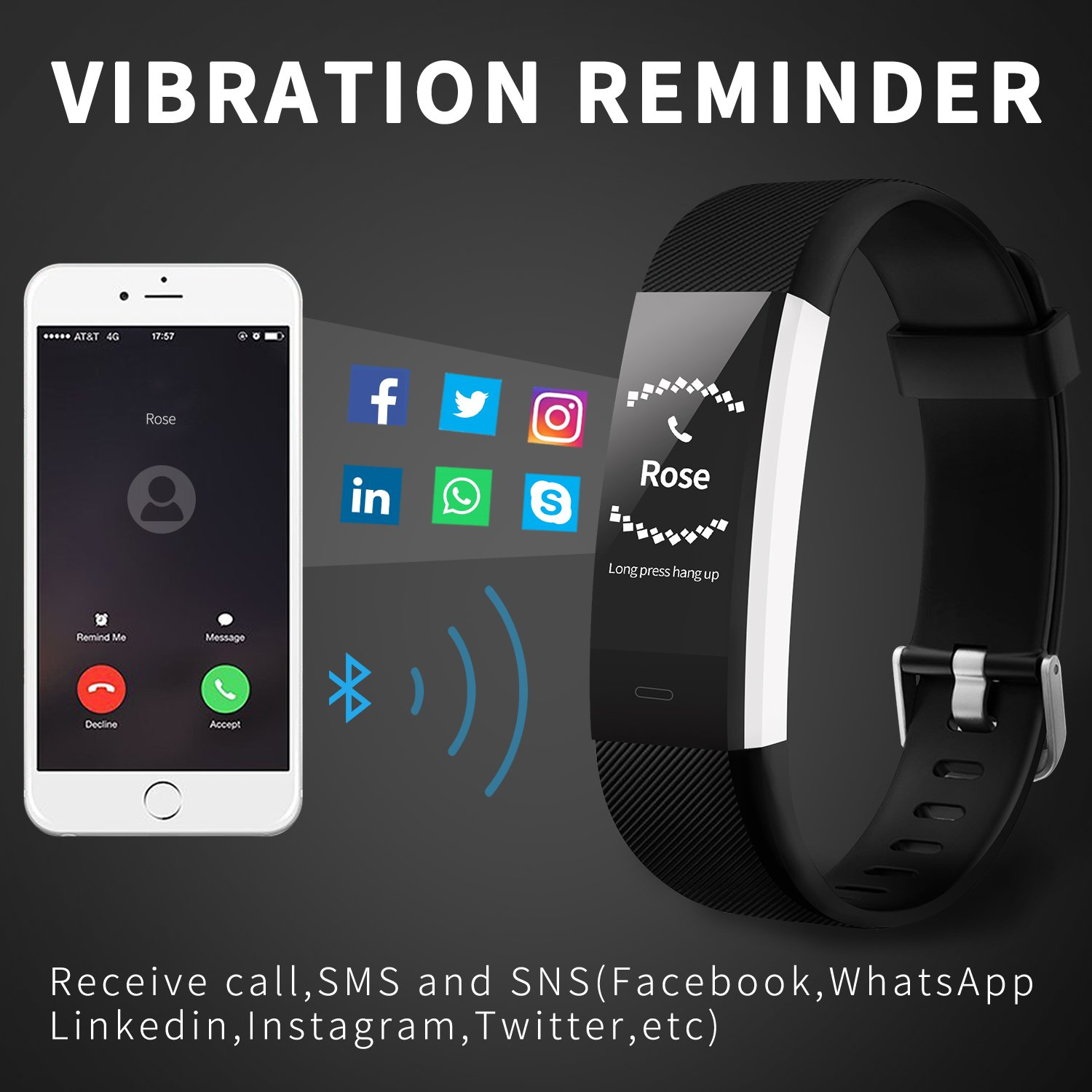 Fitness Tracker Activity Tracker Aneken Smart Band Heart Rate Sleep Monitor Waterproof Smart Bracelet Bluetooth Pedometer Wristband Smart Watches for Android and iOS Smart Phones by ANEKEN (Image #6)