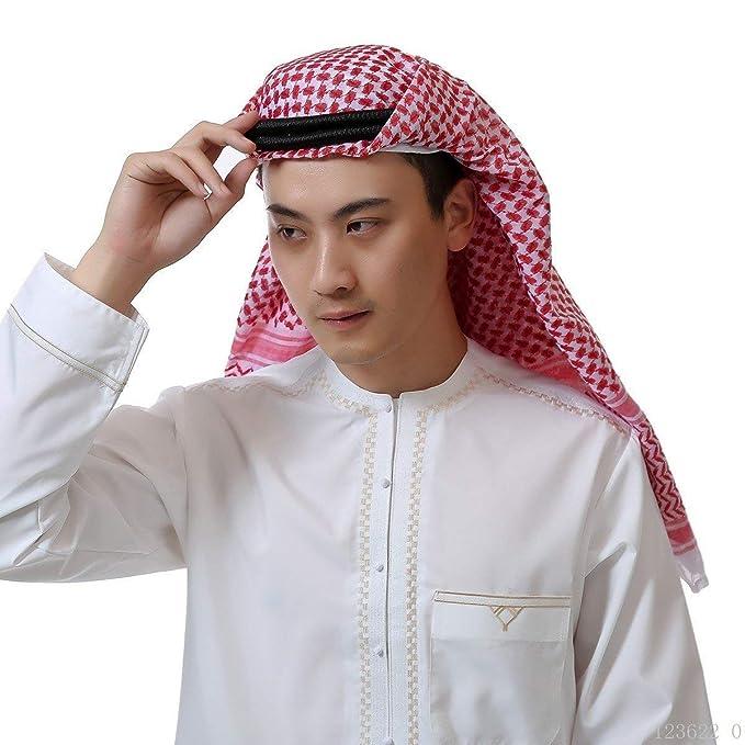 Pañuelo Árabe Hombres Estampado Islámico Modernas Turbante Bufanda Casual Sombreros Musulmanes Cubrir Bufandas Bufanda Hijab Dubai Headscarf Headwrap (Color ...