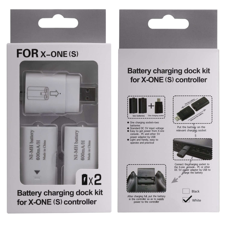 Due 600mAh batterie ricaricabile MoKo Xbox One // Xbox One S Battery Charging Dock Kit Batterie un Presa Elettrica per Controller // Gamepad di Xbox One // Xbox One S Caricatore Bianco