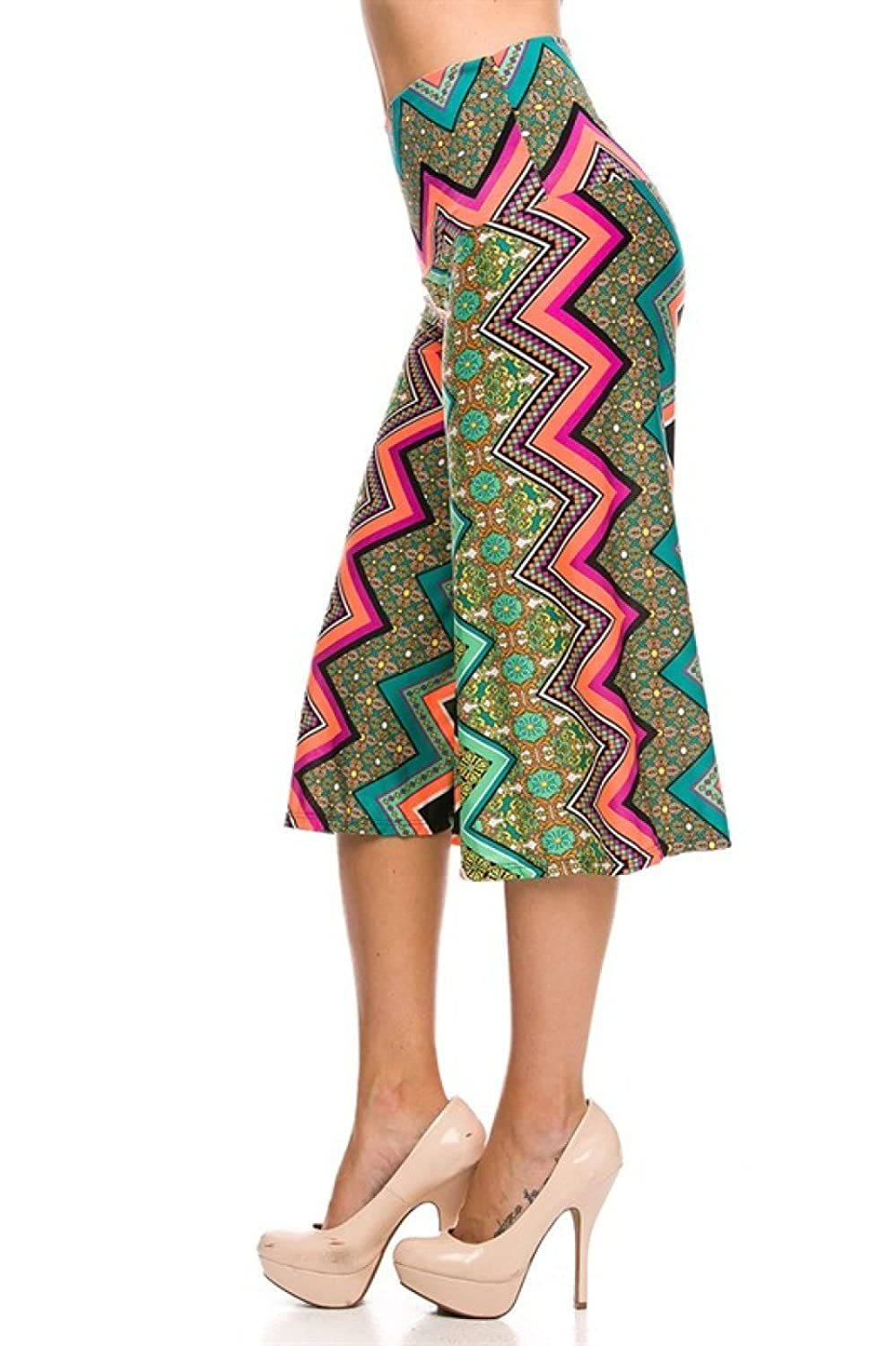 2LUV Women's Mix Print High Waisted Culotte Goucho Pants