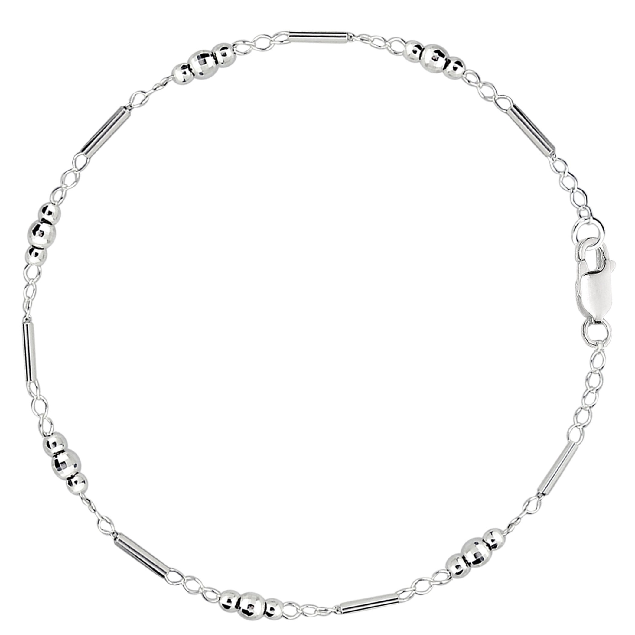 Fancy Link With Faceted Beads Chain Anklet In Sterling Silver, 11''