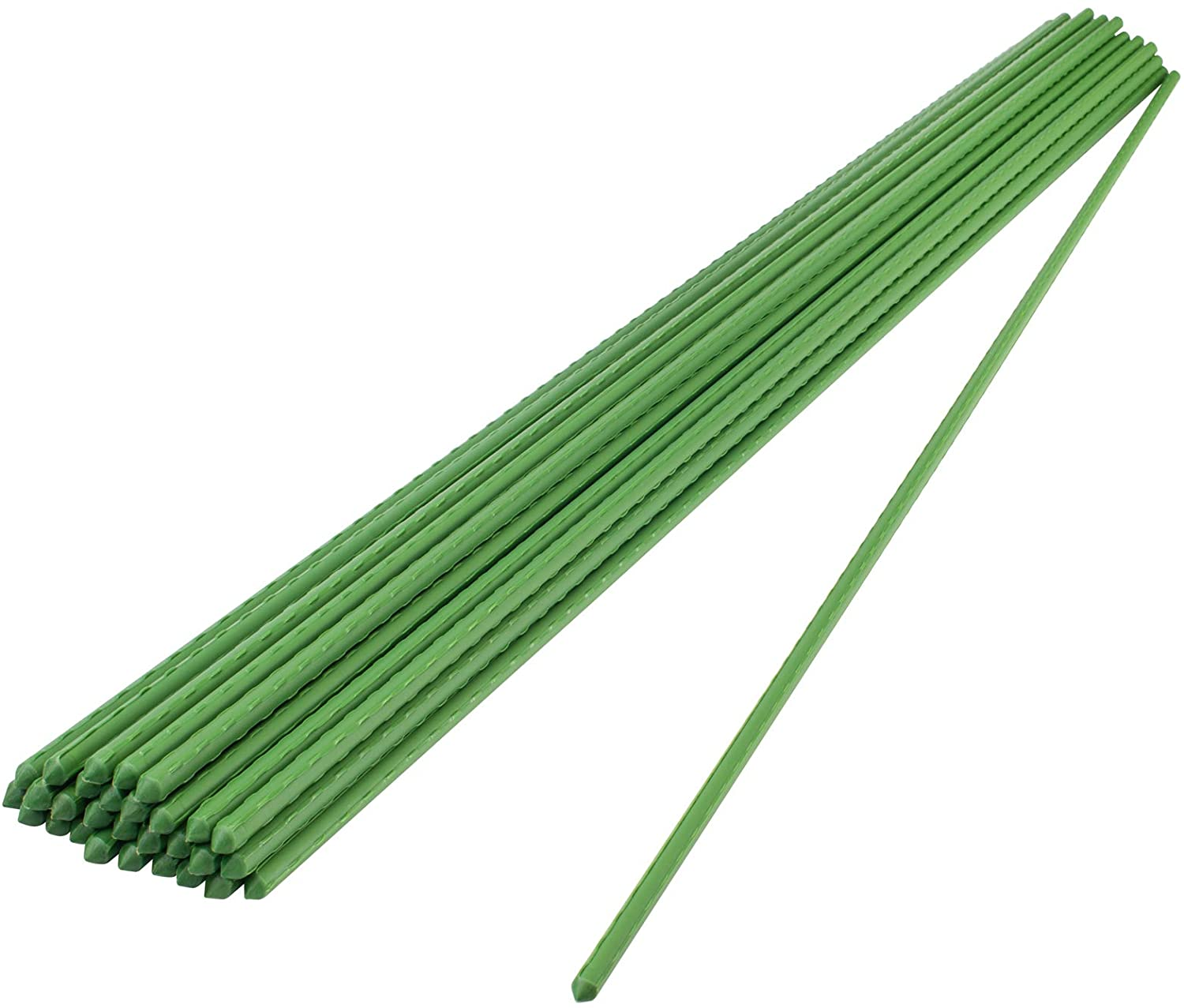 YOHEER Garden Stakes,24 Inches Sturdy Plastic Coated Steel Plant Sticks Support for Growing Trees,Natural Climbing Plants,Vine Plants,Shrubs (Pack of 30)