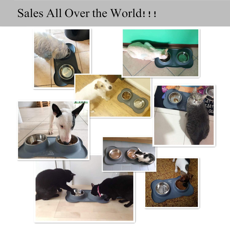 Comederos Perros Gatos Mascotas con Dos Tazas de Acero Inoxidable y una Base de Silicona Antideslizante (M (12 OZ ))