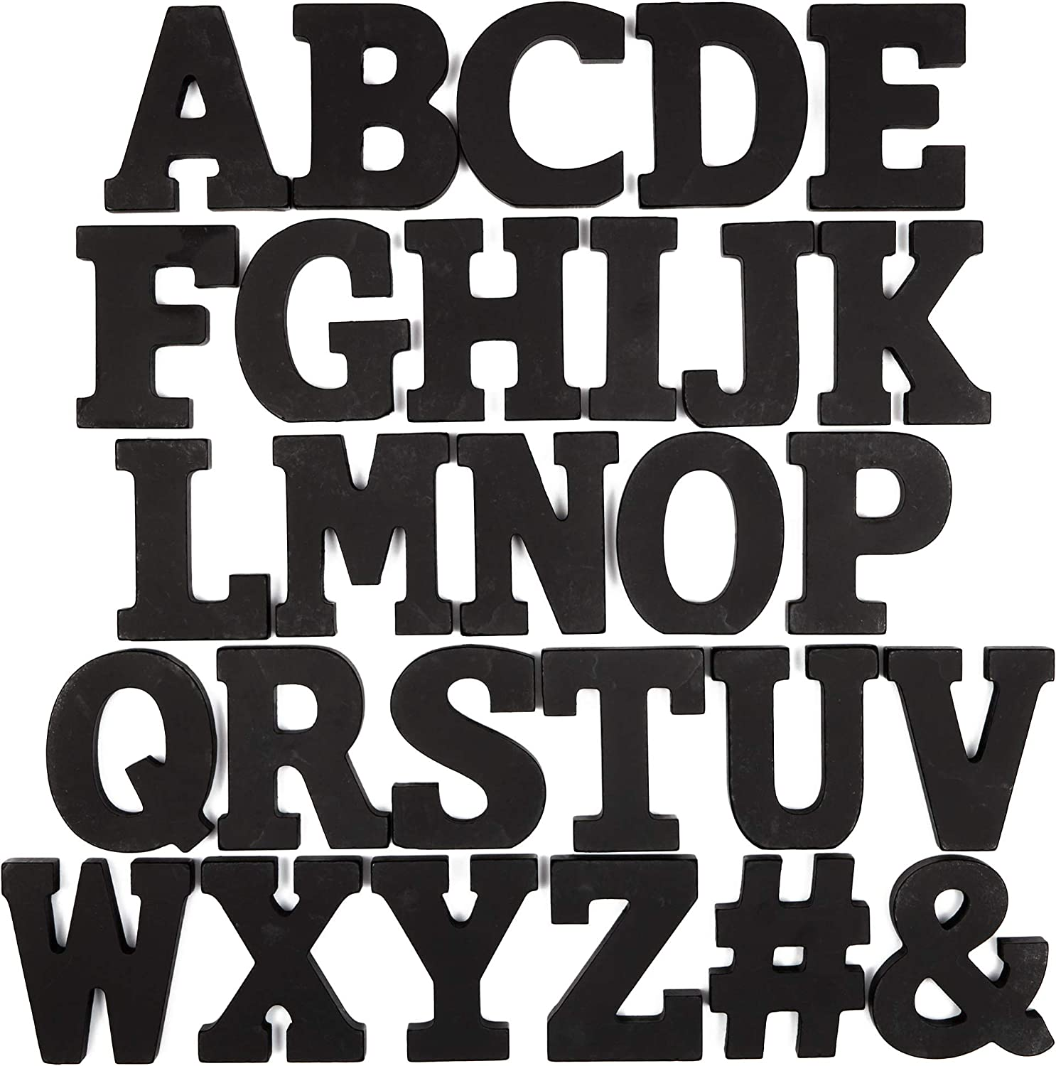 Bright Creations Wooden Alphabet Letters and Symbols (3 in, Black, 54 pcs)