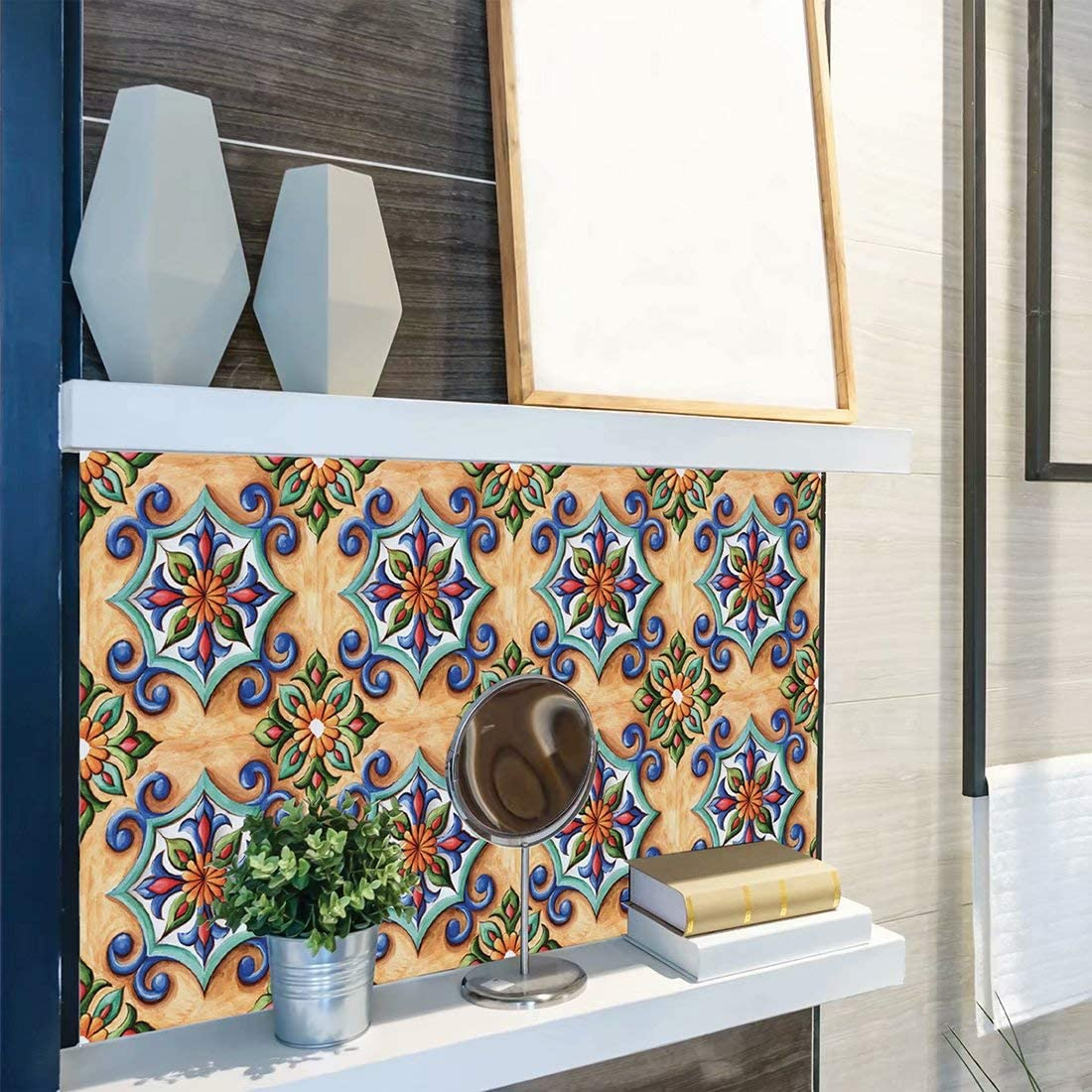 Home Decals Wall Tiles DIY Stickers Peel and Stick Backsplash for Kitchen//Bathroom in Moroccan Portuguese Mexican Talavera Design Pack of 6