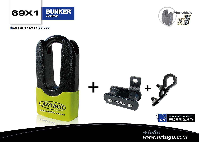 Artago 69X1 Antirrobo Disco Alta Gama y Soporte BMW GS R1250GS, R1200GS, F850GS, F800GS Homologado Sra, Sold Secure Gold, ART4, Dorado