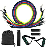 Dokpav Resistance 5 Different Levels Exercise Bands w/Door Anchor, Foam Handles, Ankle Straps and Carrying Bag