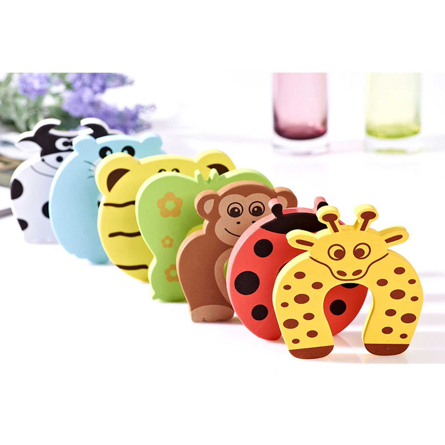 Baby Safety No Finger Pinch Guard, Foam Door Stopper Cushion, eBerry Cartoon Animal Curve Door Stop Cushiony for Children Kids Finger Hand Safety, 7 PCS Set