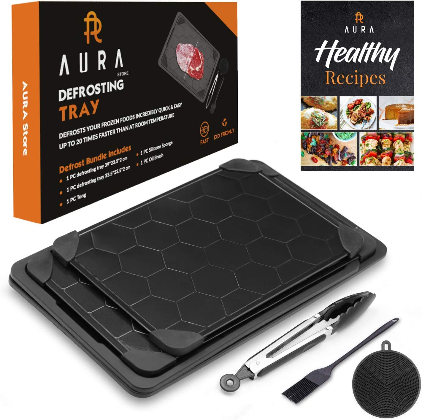 Defrosting Tray Set 7 Piece, Fast Thawing Plate Board with Drip Tray, Defrosting Boards, Silicone Sponge, Cleaning Brush and Tongs, Rapid Thaw Frozen Foods, Meats, Vegetables