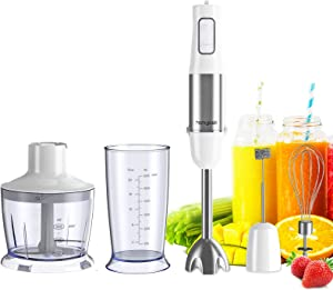 homgeek Immersion Hand Stick Blender 500W, 6-Speed 5-in-1 Stainless Steel Stick Blender with BPA-Free Food Chopper, 600ml Beaker, Egg Beater, Milk Frother for Soups Shakes Smoothie Sauce Baby Food