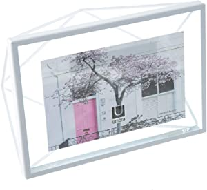 """Umbra, White Prisma 4x6 Picture Frame for Desktop or Wall, Holds One 4""""x6"""" Photo, 4 by 6-Inch"""