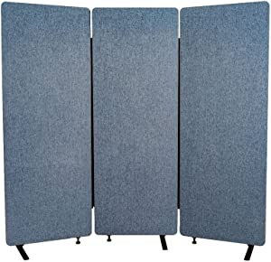 LUXOR Reclaim Office, Classroom Wall Partition Freestanding Acoustic Room Divider - 3 Pack, Pacific Blue