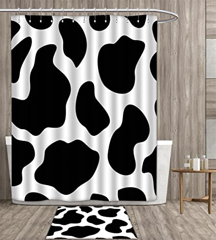 Homefeel Cow Print Shower Curtain Eco Friendly Hide Of A With Black Spots Abstract