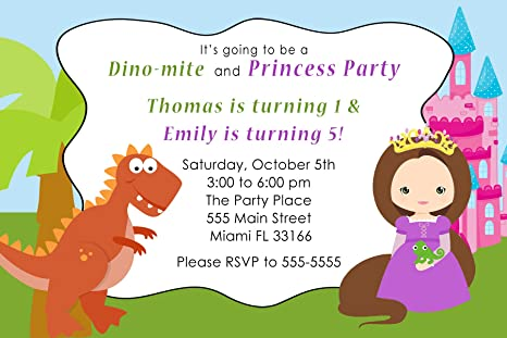 Image Unavailable Not Available For Color 30 Invitations Dinosaur Princess Girl Boy Birthday Party Personalized