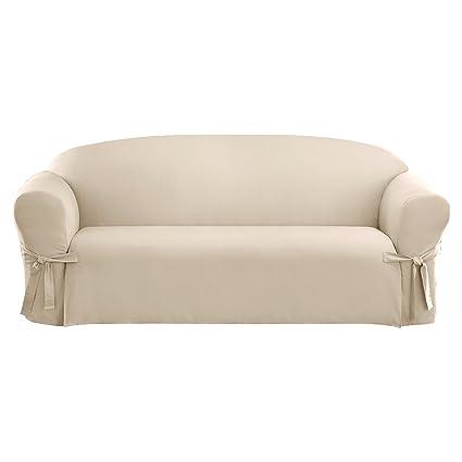 Stupendous Sure Fit Cotton Duck Sofa Slipcover Natural Interior Design Ideas Grebswwsoteloinfo