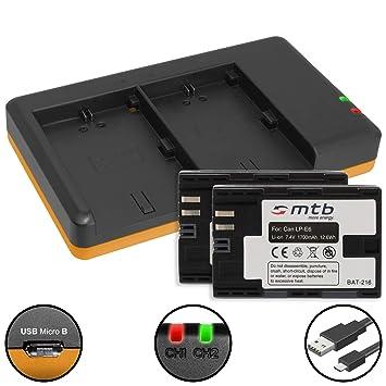 2 Baterías + Cargador doble (USB) para LP-E6(N) / Canon EOS ...