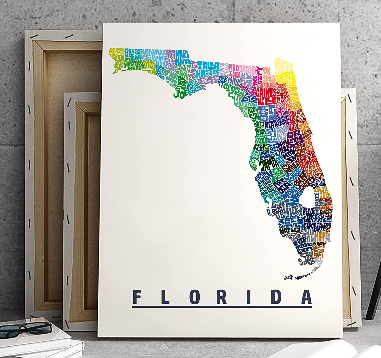 Birthday Wedding Travel Mother/'s Day State City /& Heart Custom Framed Handmade Canvas Art Personalized Gift  FLORIDA Map 11x14
