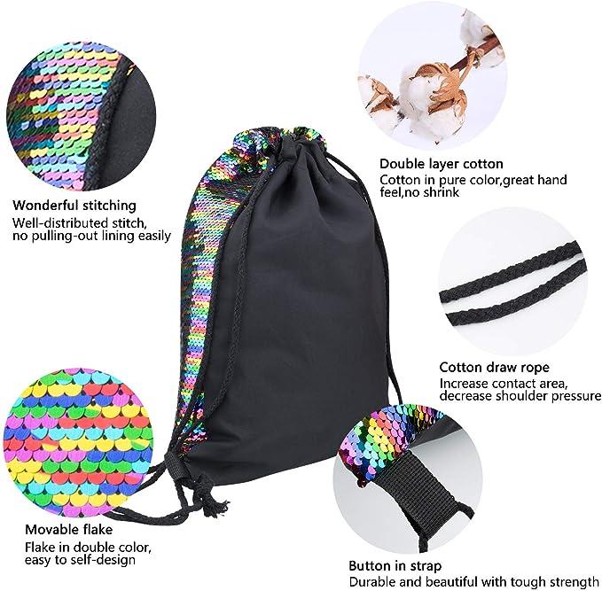 Joeyer Magique Sequin Sir/ène Drawstring Sac Mermaid Drawstring Bag Glittering Dance Bag pour Femmes Filles Ado